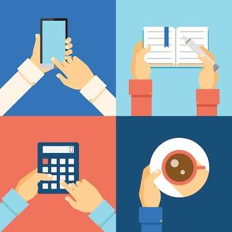 Manos de oficina: teléfono inteligente, calculadora, taza de café y tomar notas