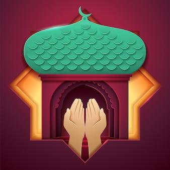 Manos de oración frente a la entrada de la mezquita. iglesia de papel del islam con palmeras, palacio musulmán con media luna. antecedentes religiosos para ramadán o ramazan, salah rezando, eid al-adha, fiesta ul-fitr