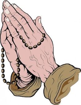 Manos orando con rosario   Vector Gratis