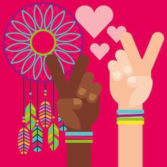 Manos paz y amor atrapasueños