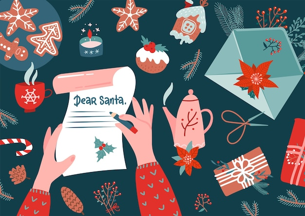 Manos de personaje con pluma escribiendo carta a santa claus. sobre, ramas de piel, acebo, medias, regalos, pan de jengibre en taple - vista superior. navidad víspera de año nuevo vacaciones de navidad.