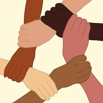 Manos de personas con diferentes colores de piel que se sostienen entre sí ilustración de vector plano de muñeca