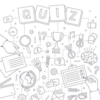 Manos de personas resolviendo acertijos, respondiendo preguntas de cuestionarios y participando en la competencia intelectual