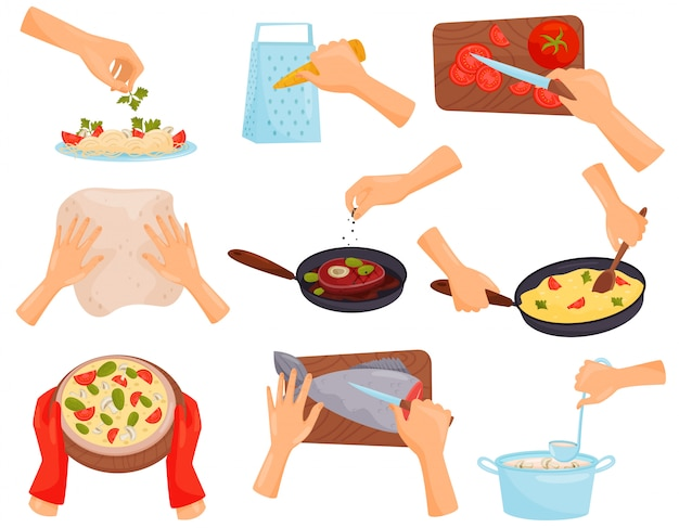 Manos preparando alimentos, proceso de cocción de pasta, carne, pizza, pescado ilustración sobre un fondo blanco.