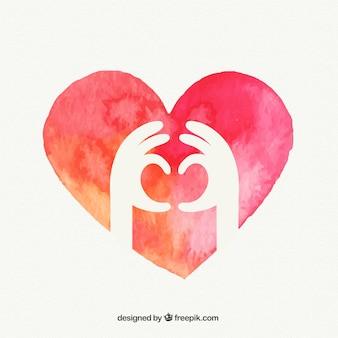 Manos que forman un corazón Vector Premium