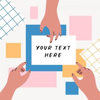 Manos que muestran en la plantilla de fondo de texto