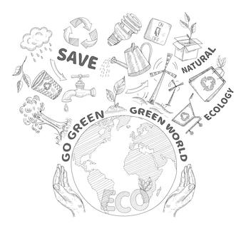 Manos que sostienen y protegen el ambiente del globo