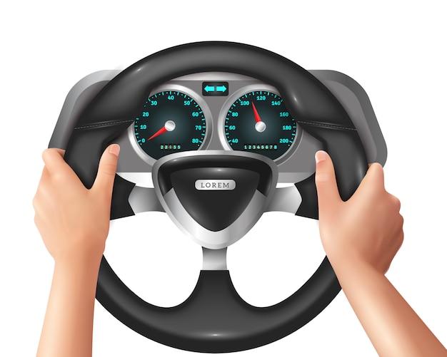 Manos realistas aisladas conductor en coche