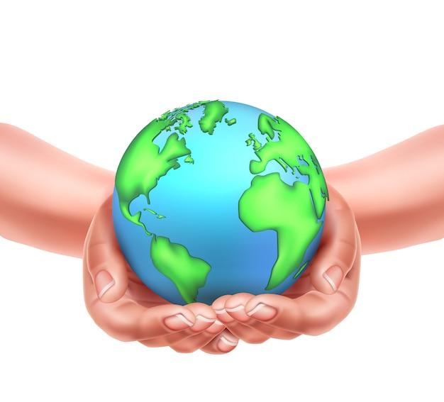 Manos realistas sosteniendo planeta tierra eco