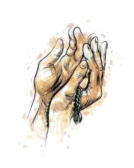 Manos rezando con rosario, fondo de vector de boceto dibujado a mano.