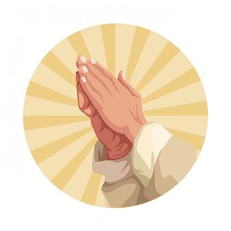 Manos rezando, señal