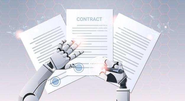 Manos de robot firmando documentos