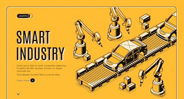 Las manos de los robots ensamblan el automóvil en la pancarta del proceso de la cinta transportadora