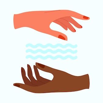 Manos sanadoras de energía y ondas de agua