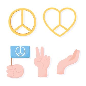 Manos de signo de corazón de día internacional de la paz y bandera ilustración vectorial