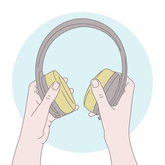 Manos sosteniendo auriculares, ilustración del concepto