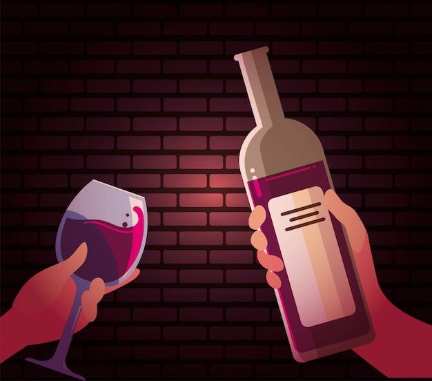 Manos sosteniendo la botella de vino y copa
