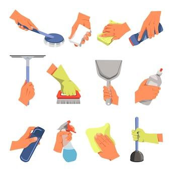 Manos sosteniendo diferentes herramientas de limpieza vector conjunto de iconos flat