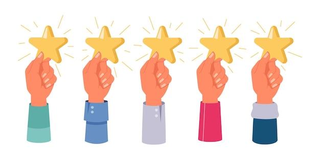 Manos sosteniendo estrellas calificación retroalimentación aislada conjunto vector cinco estrellas marca positiva revisión satisfacción