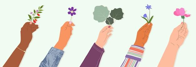 Manos sosteniendo flores y ramas conjunto de ilustraciones.