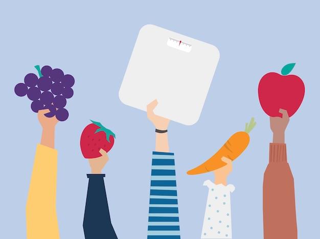 Manos sosteniendo la ilustración de elementos de estilo de vida saludable