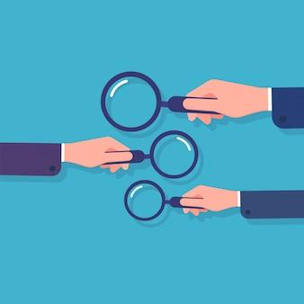 Manos sosteniendo la lupa. búsqueda de información, investigación de datos comerciales y detectives. concepto de dibujos animados con lupa