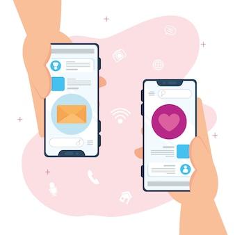 Manos sosteniendo, mensajes de chat en línea y correo de notificación en teléfonos inteligentes
