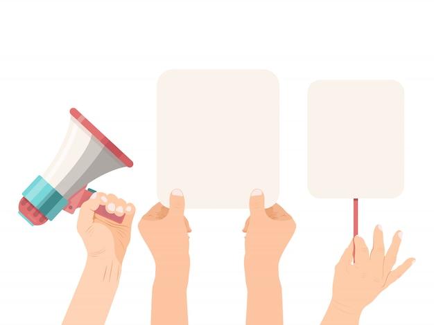 Manos sosteniendo pancartas en blanco y megáfono. anuncio banner vacío