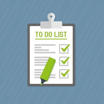 Manos sosteniendo un papel y un lápiz. concepto de lista de tareas. diseño vectorial plano