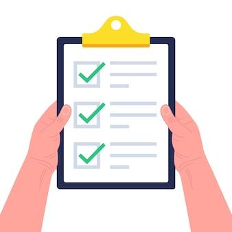 Manos sosteniendo el portapapeles con lista de verificación. concepto de encuesta, cuestionario, lista de tareas pendientes o acuerdo. ilustración.