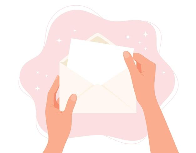 Manos sosteniendo sobre papel en blanco con ilustración de concepto de espacio de copia