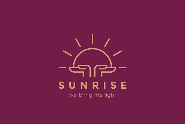 Manos sosteniendo el sol naciente logo diseño plantilla estilo lineal. concepto de logotipo de orar al amanecer religión religión rezar. icono del concepto de fundación.