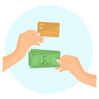 Manos sosteniendo tarjetas de crédito y billetes de dinero
