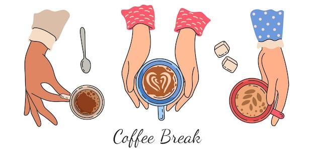 Manos sosteniendo tazas de café. la vista superior de la mano femenina sostiene la taza con la bebida caliente de la mañana, café con leche y espresso. cartel de vector de reunión de amigas de mujeres. ilustración mano femenina con taza de café