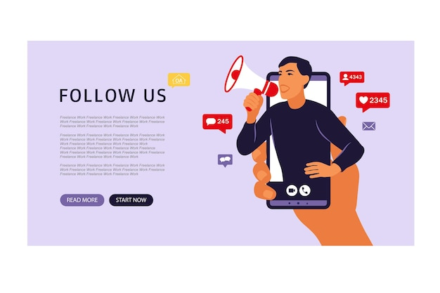 Manos sosteniendo el teléfono inteligente con un hombre gritando en altavoz. influencer marketing, redes sociales o promoción de redes. ilustración vectorial plano.
