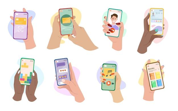 Manos sosteniendo teléfonos con conjunto de ilustraciones de aplicaciones móviles