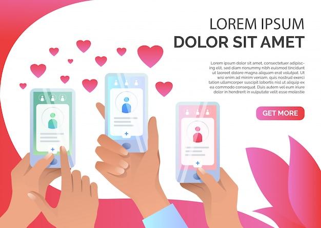 Manos sosteniendo teléfonos inteligentes con aplicación de citas en línea