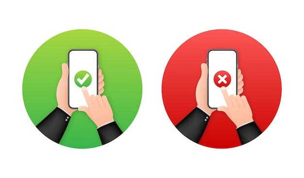 Manos sosteniendo teléfonos inteligentes con conjunto de marcas de verificación
