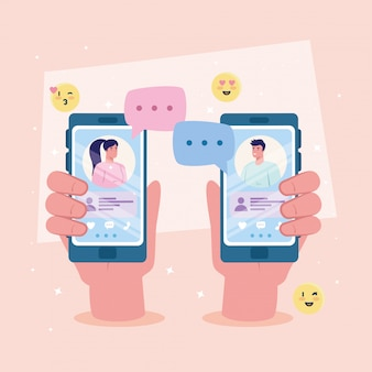 Manos sosteniendo teléfonos inteligentes con mujer y hombre chateando