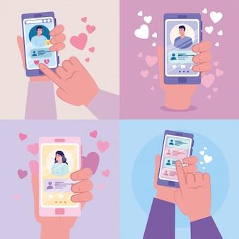 Manos sosteniendo teléfonos inteligentes con mujeres y hombres chateando