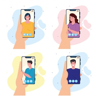 Manos sosteniendo videollamadas de teléfonos inteligentes en la pantalla con jóvenes, concepto de redes sociales