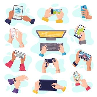 Manos sostienen gadgets, teléfonos móviles, dispositivos digitales electrónicos, conjunto de ilustraciones. dispositivos informáticos en mano, portátil, tableta, teléfono inteligente o teclado. manos de gadget.