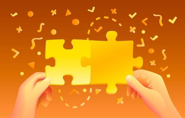 Las manos sostienen el rompecabezas de colores con iconos.