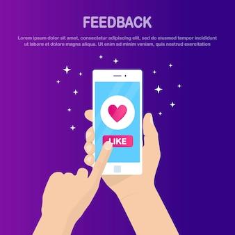 Manos sostienen smartphone blanco con icono similar. comunicación en redes sociales, concepto de retroalimentación del cliente