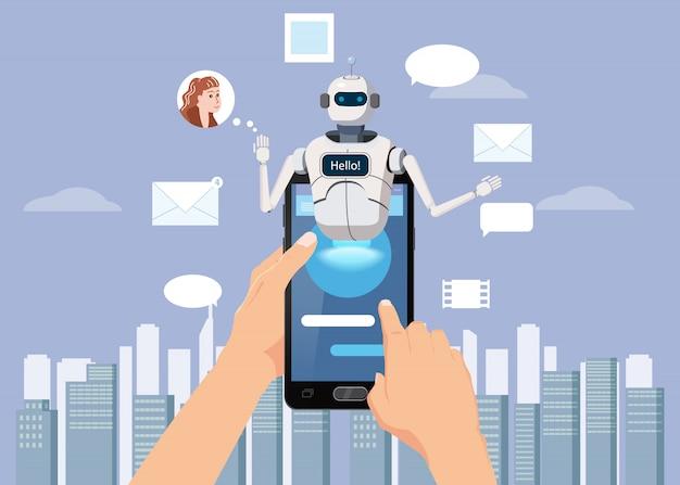 Manos sostienen teléfono inteligente chat gratis bot