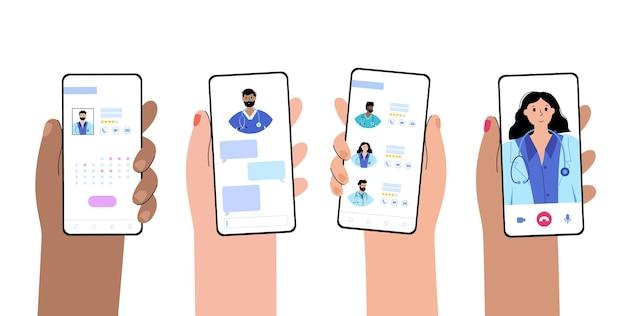 Manos sostienen teléfonos con un concepto de aplicación clínica