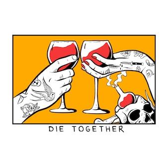 Manos con tatuaje sosteniendo una copa de vino tinto ilustración