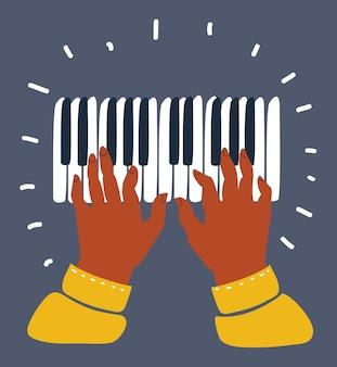 Manos y teclas de piano