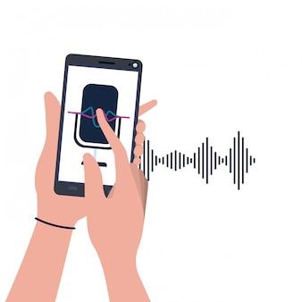 Manos con teléfono inteligente y asistente de voz.