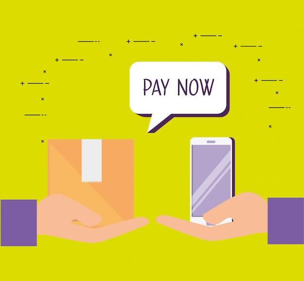 Manos con teléfono inteligente y paquetes para compras en línea